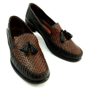 Cole Haan Two Tone Woven Tassel Moccasin Loafer